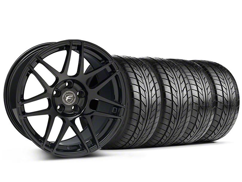 Staggered Forgestar F14 Monoblock Piano Black Wheel & NITTO Tire Kit - 18x9/10 (94-98 All)