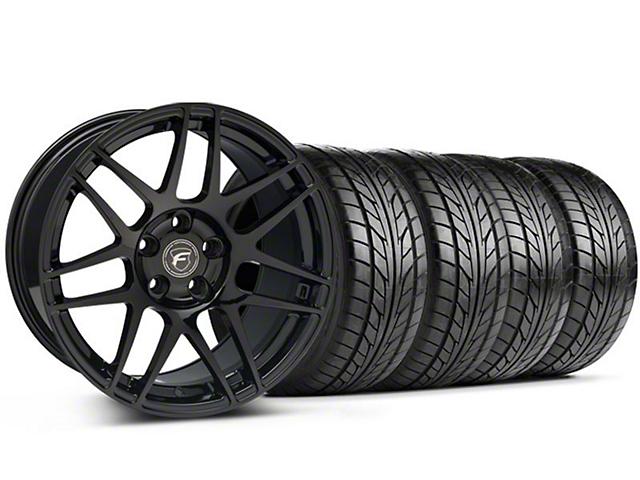 Staggered Forgestar F14 Monoblock Piano Black Wheel & NITTO Tire Kit; 18x9/10 (94-98 All)
