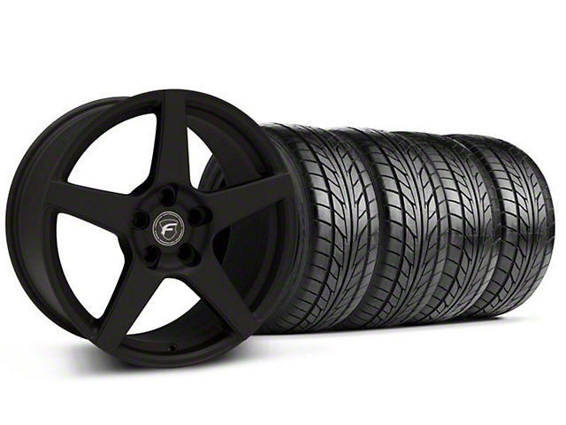 Staggered Forgestar CF5 Monoblock Textured Black Wheel & NITTO Tire Kit - 18x9/10 (94-98 All)
