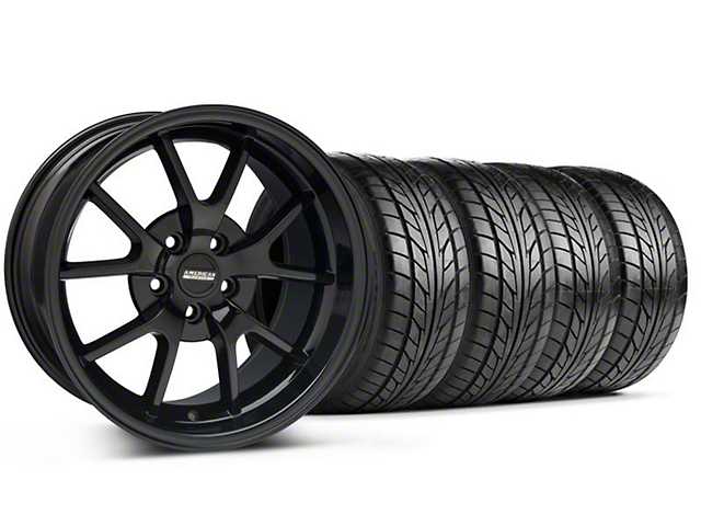Staggered FR500 Style Gloss Black Wheel & NITTO Tire Kit - 18x9/10 (94-98 All)