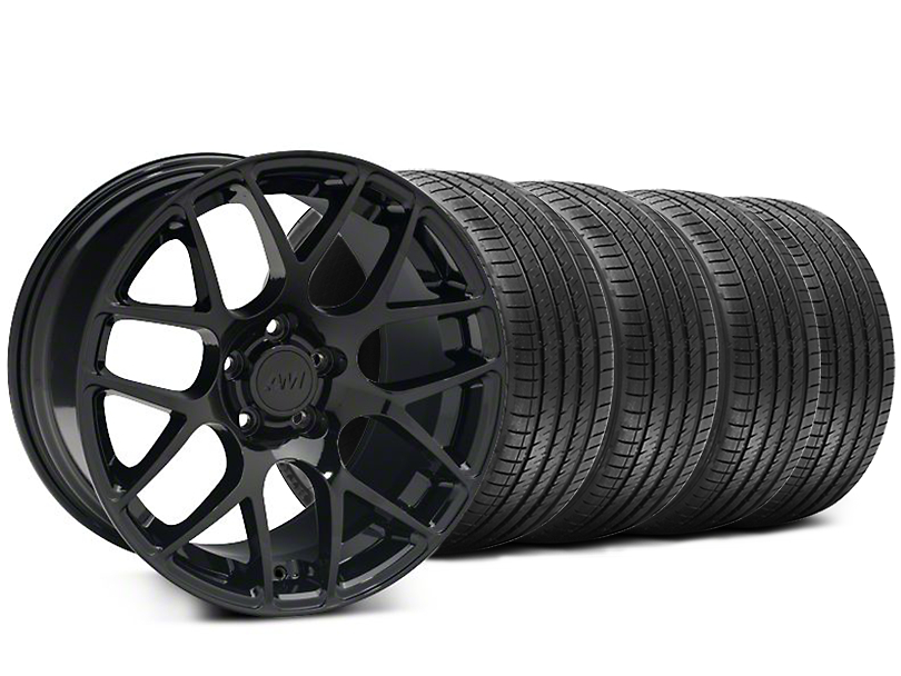 Staggered AMR Black Wheel and Sumitomo Maximum Performance HTR Z5 Tire Kit; 18x8/9 (94-04 All)