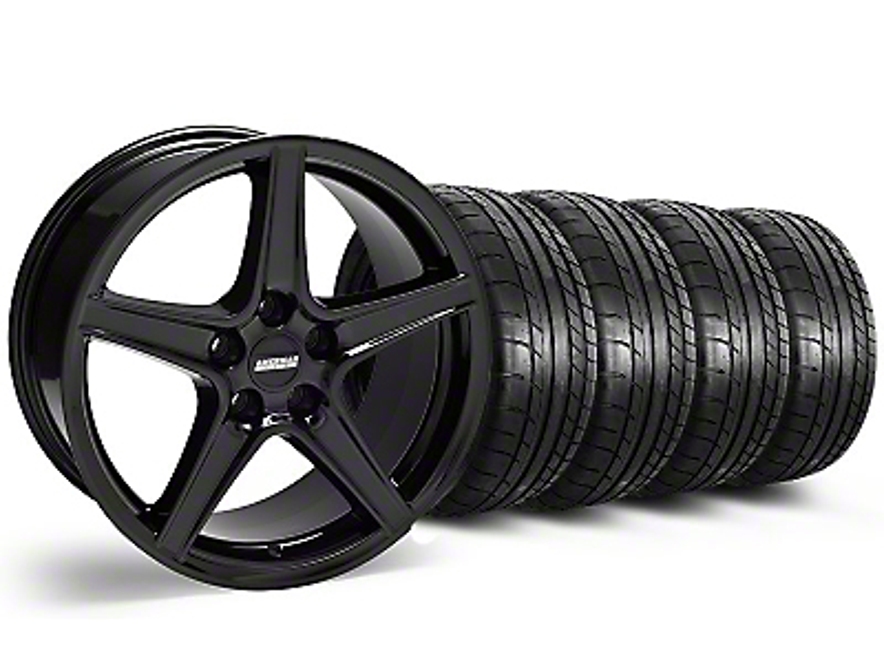 Saleen Style Black Wheel & Mickey Thompson Tire Kit - 18x9 (05-14 GT, V6)