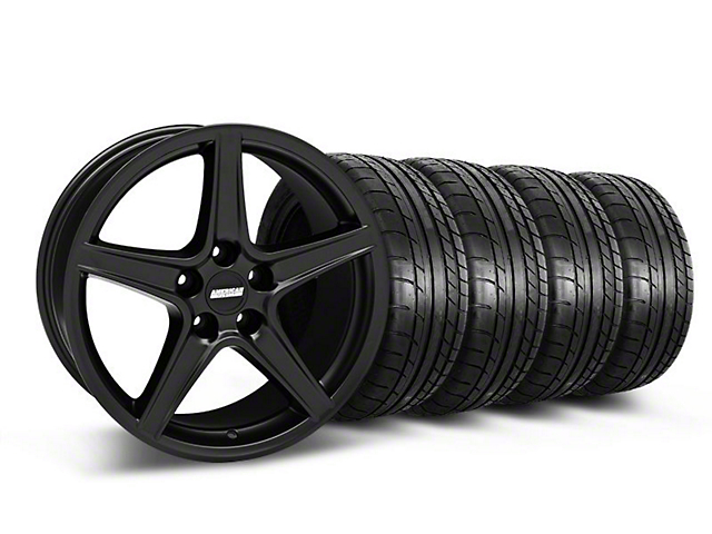 Saleen Style Matte Black Wheel and Mickey Thompson Tire Kit; 18x9 (05-14 GT, V6)