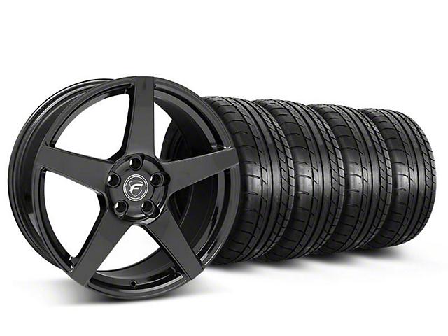 Forgestar CF5 Monoblock Gloss Black Wheel & Mickey Thompson Tire Kit; 18x9 (05-14 All)