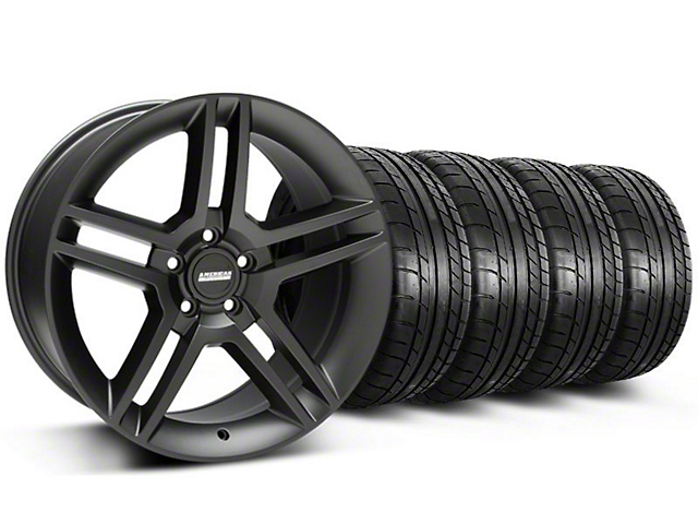 2010 GT500 Style Matte Black Wheel and Mickey Thompson Tire Kit; 18x9 (05-14 All)