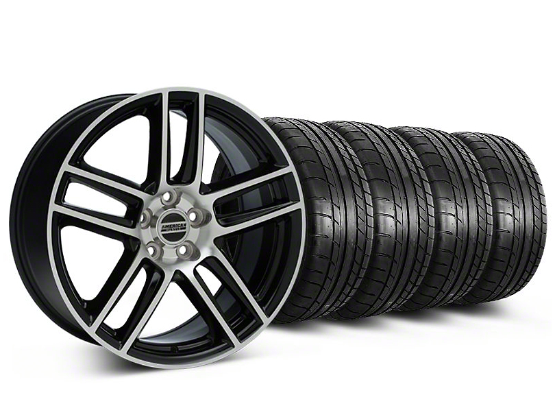 Laguna Seca Style Black Machined Wheel and Mickey Thompson Tire Kit; 19x9 (05-14 All)