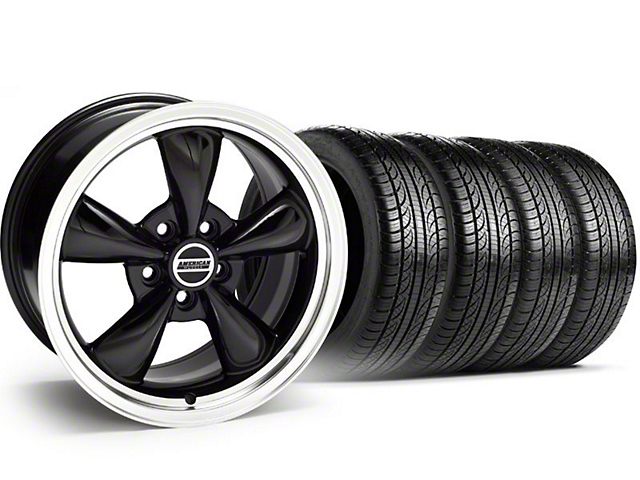 Bullitt Black Wheel and Pirelli Tire Kit; 18x8 (05-10 GT; 05-14 V6)
