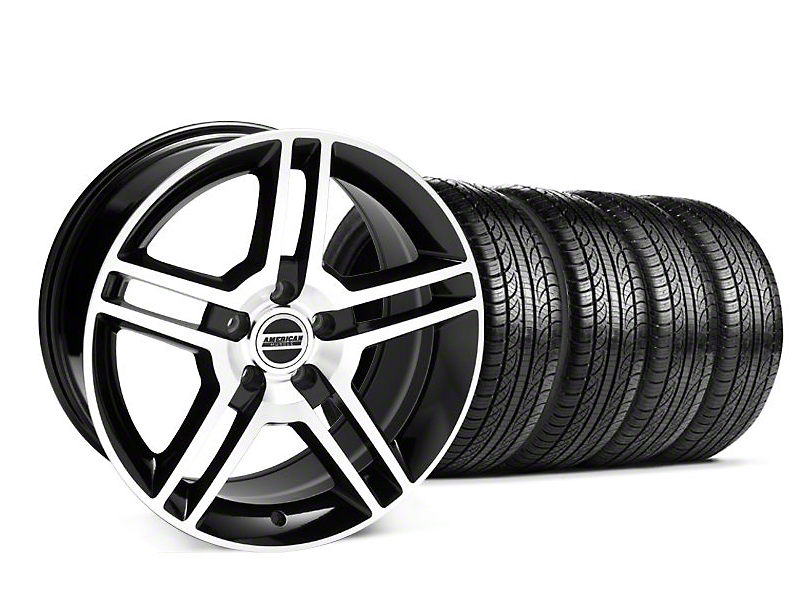 2010 GT500 Style Black Machined Wheel and Pirelli Tire Kit; 19x8.5 (05-14 All)