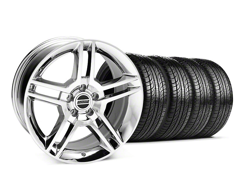Staggered 2010 GT500 Style Chrome Wheel & Pirelli Tire Kit - 19x8.5/10 (05-14 All)
