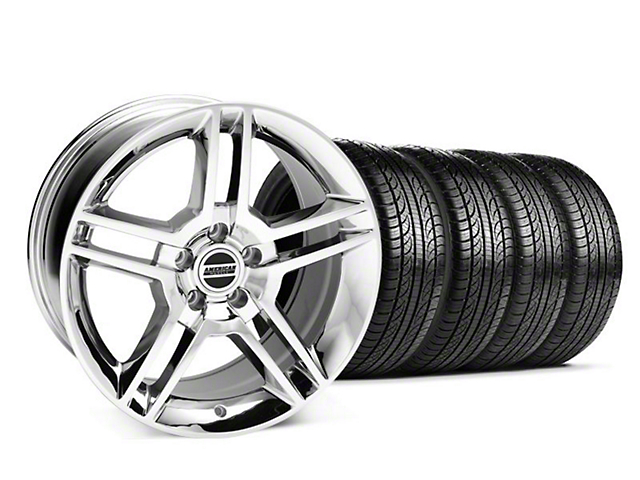 Staggered 2010 GT500 Style Chrome Wheel and Pirelli Tire Kit; 19x8.5/10 (05-14 All)