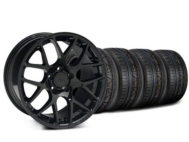 Staggered AMR Black Wheel and NITTO INVO Tire Kit; 18x9/10 (05-14 All)