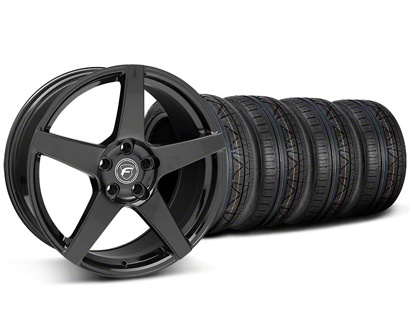 Staggered Forgestar CF5 Monoblock Piano Black Wheel & NITTO INVO Tire Kit - 18x9/10 (05-14 All)