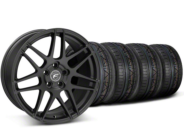 Staggered Forgestar F14 Monoblock Matte Black Wheel and NITTO INVO Tire Kit; 20x9/11 (05-14 All)