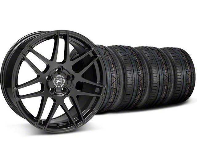 Staggered Forgestar F14 Monoblock Piano Black Wheel and NITTO INVO Tire Kit; 20x9/11 (05-14 All)
