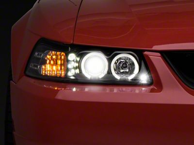 Axial Black Projector Headlights - Dual LED Halo (99-04 All)