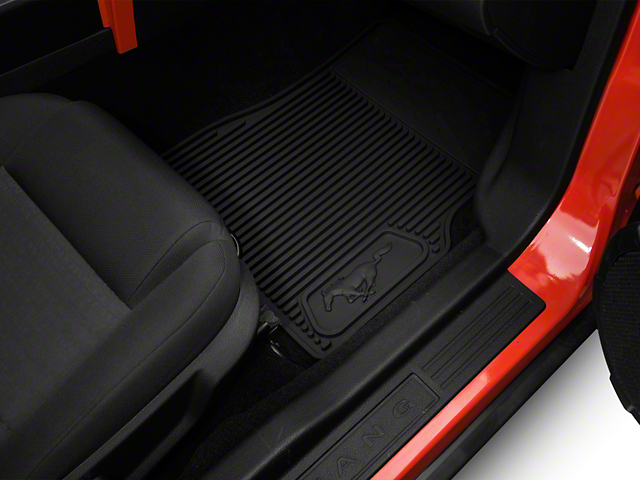 Ford Front & Rear Rubber Floor Mats w/ Running Pony Logo - Black (05-09 All)