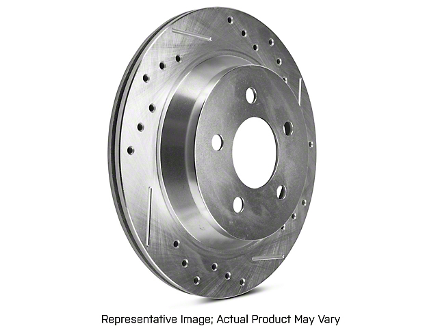 Power Stop Evolution Cross-Drilled and Slotted Rotors; Rear Pair (94-04 Cobra, Bullitt, Mach 1)