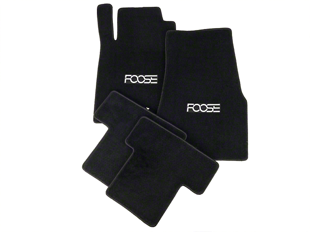 Front and Rear Floor Mats with FOOSE Logo; Black (05-10 All)