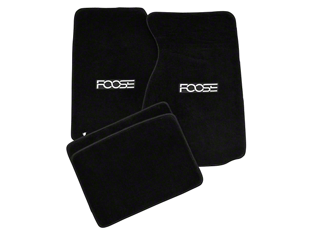 Alterum Front & Rear Floor Mats w/ FOOSE Logo - Black (99-04 All)