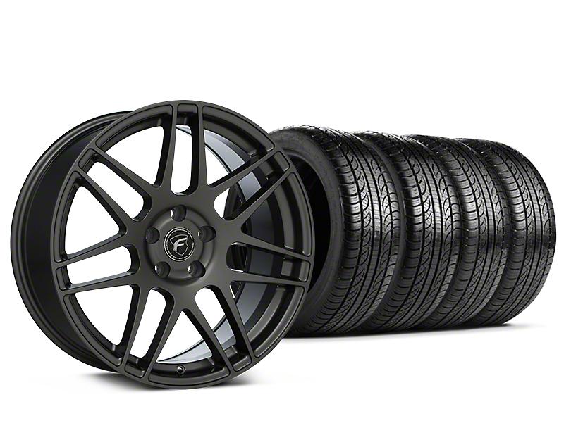 Forgestar F14 Monoblock Gunmetal Wheel and Pirelli Tire Kit; 19x9.5 (15-20 GT, EcoBoost, V6)