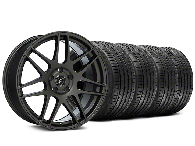 Forgestar F14 Monoblock Gunmetal Wheel and Sumitomo Maximum Performance HTR Z5 Tire Kit; 20x9.5 (15-20 GT, EcoBoost, V6)