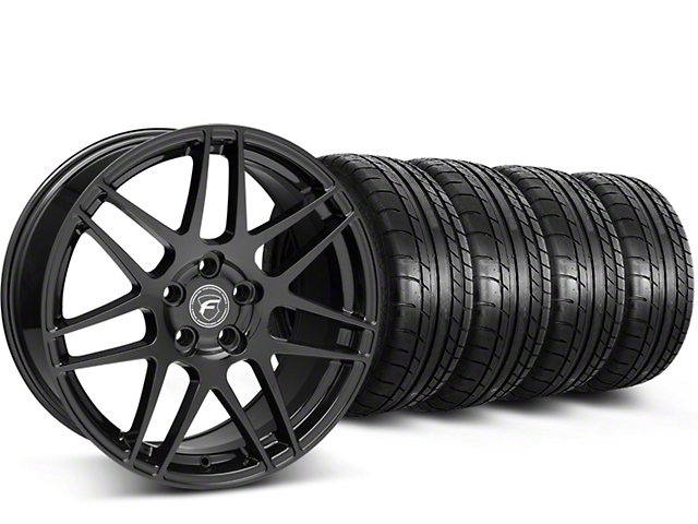 Forgestar F14 Monoblock Piano Black Wheel & Mickey Thompson Tire Kit - 19x9.5 (15-18 All)