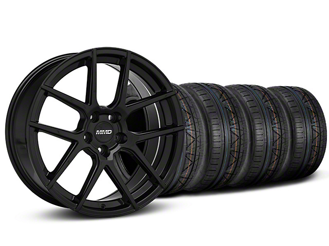 MMD Zeven Black Wheel and NITTO INVO Tire Kit; 20x8.5 (15-20 GT, EcoBoost, V6)