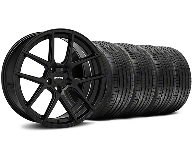Staggered MMD Zeven Black Wheel and Sumitomo Maximum Performance HTR Z5 Tire Kit; 20x8.5/10 (15-20 GT, EcoBoost, V6)