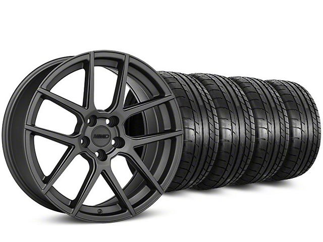 Staggered MMD Zeven Charcoal Wheel & Mickey Thompson Tire Kit - 20 in. - 2 Rear Options (15-17 All)