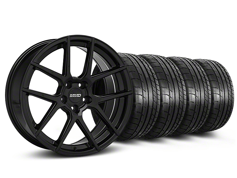 Staggered MMD Zeven Black Wheel and Mickey Thompson Tire Kit; 20-Inch (15-20 GT, EcoBoost, V6)