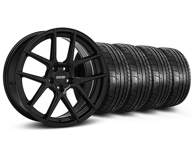 MMD Zeven Black Wheel and Mickey Thompson Tire Kit; 19x8.5 (15-20 GT, EcoBoost, V6)