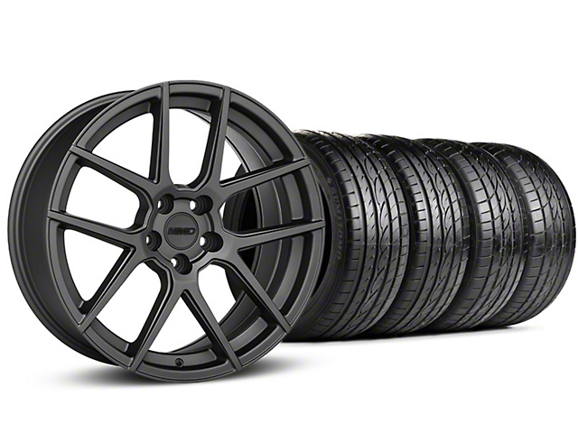 MMD Zeven Charcoal Wheel and Sumitomo Maximum Performance HTR Z5 Tire Kit; 19x8.5 (15-20 GT, EcoBoost, V6)