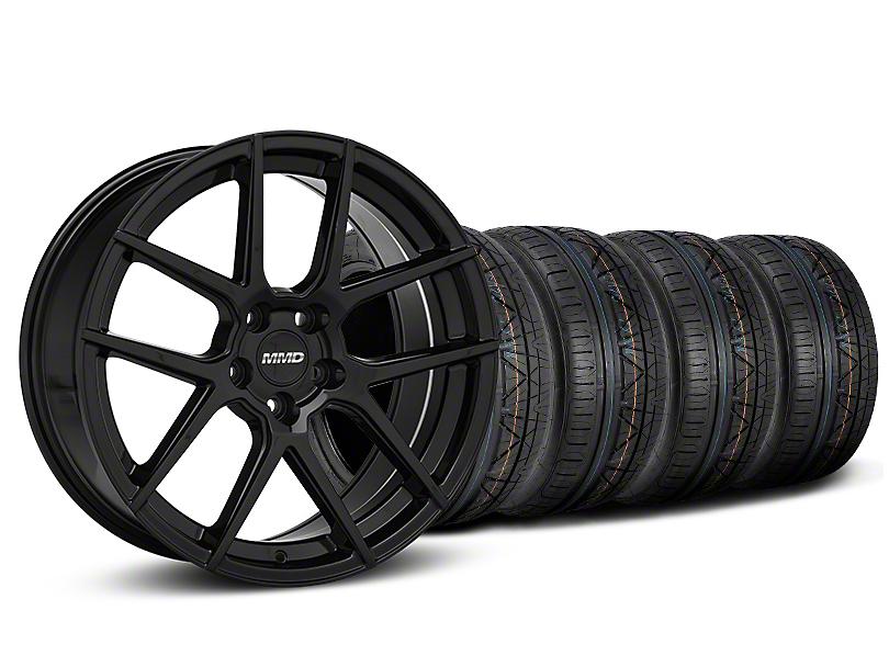 MMD Zeven Black Wheel and NITTO INVO Tire Kit; 19x8.5 (15-20 GT, EcoBoost, V6)