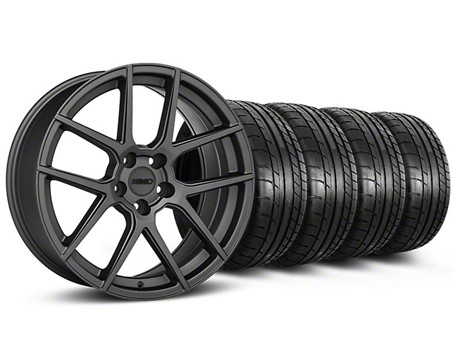 MMD Zeven Charcoal Wheel and Mickey Thompson Tire Kit; 19x8.5 (15-20 GT, EcoBoost, V6)