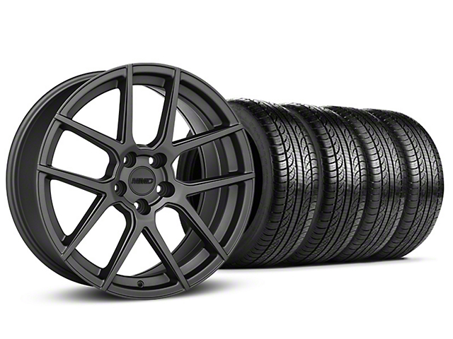 Staggered MMD Zeven Charcoal Wheel & Pirelli Tire Kit - 19x8.5/10 (15-17 All)