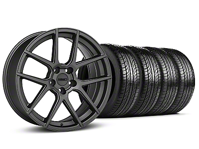 Staggered MMD Zeven Charcoal Wheel & Pirelli Tire Kit - 19x8.5/10 (15-18 All)