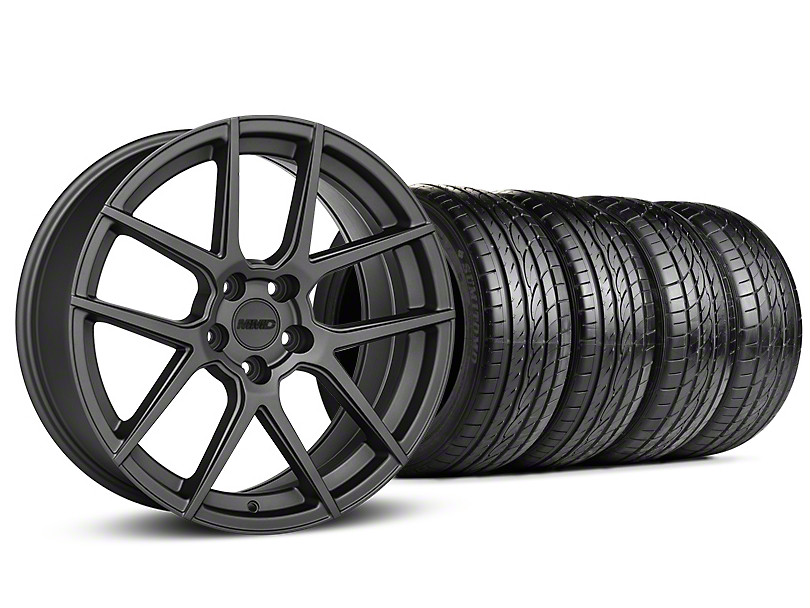 Staggered MMD Zeven Charcoal Wheel & Sumitomo Tire Kit - 19x8.5/10 (15-17 All)