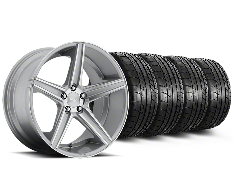 Niche Apex Machined Silver Wheel & Mickey Thompson Tire Kit - 20x8.5 (15-19 All)