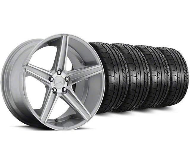 Staggered Niche Apex Machined Silver Wheel & Mickey Thompson Tire Kit - 20 in. - 2 Rear Options (15-18 All)