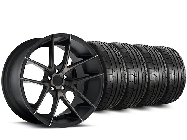 Staggered Niche Targa Black Wheel & Mickey Thompson Tire Kit - 20 in. - 2 Rear Options (15-17 All)