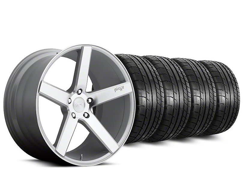 Staggered Niche Milan Silver Wheel & Mickey Thompson Tire Kit - 20 in. - 2 Rear Options (15-17 All)