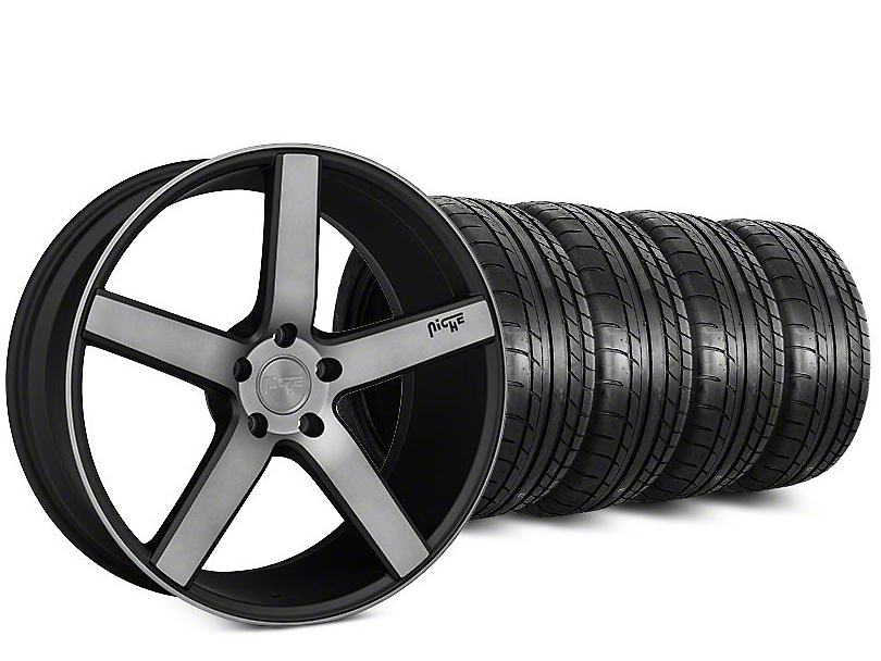 Staggered Niche Milan Matte Black Machined Wheel & Mickey Thompson Tire Kit - 20 in. - 2 Rear Options (15-17 All)