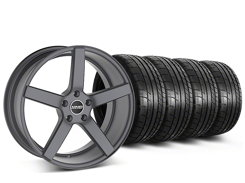 Staggered MMD 551C Charcoal Wheel & Mickey Thompson Tire Kit - 20 in. - 2 Rear Options (15-19 GT, EcoBoost, V6)