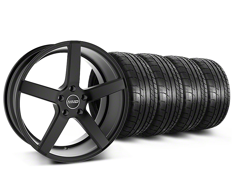 Staggered MMD 551C Black Wheel & Mickey Thompson Tire Kit - 20 in. - 2 Rear Options (15-17 GT, EcoBoost, V6)