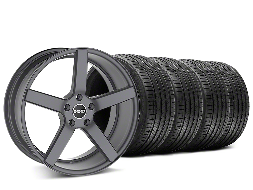 Staggered MMD 551C Charcoal Wheel & Sumitomo Tire Kit - 20x8.5/10 (15-17 GT, EcoBoost, V6)