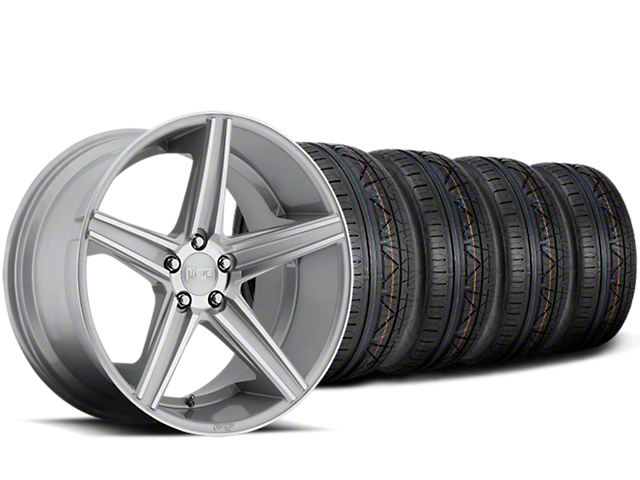Staggered Niche Apex Machined Silver Wheel & NITTO INVO Tire Kit - 20x8.5/10 (15-18 All)