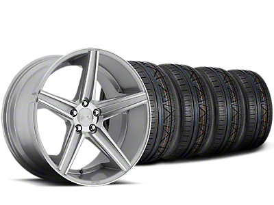 Staggered Niche Apex Machined Silver Wheel & NITTO INVO Tire Kit - 20x8.5/10 (15-19 All)