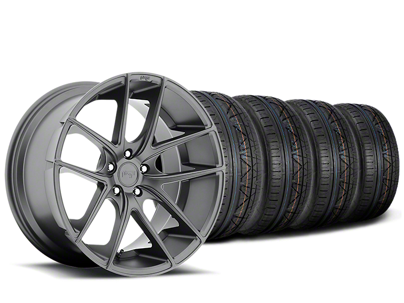 Staggered Niche Targa Matte Anthracite Wheel & NITTO INVO Tire Kit - 20x8.5/10 (15-19 All)