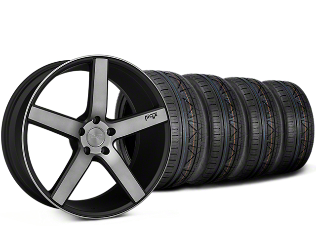 Staggered Niche Milan Matte Black Machined Wheel & NITTO INVO Tire Kit - 20x8.5/10 (15-18 All)