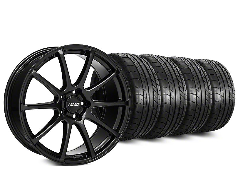 Staggered MMD Axim Gloss Black Wheel & Mickey Thompson Tire Kit - 20 in. - 2 Rear Options (15-17 All)